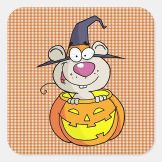 mouse in pumpkin square sticker