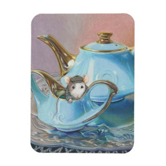 Mouse in the Tea Cup Vintage look art print Rectangular Photo Magnet