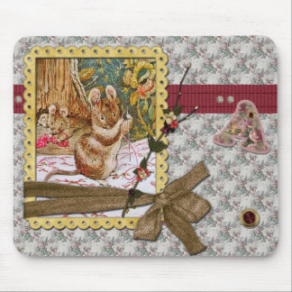 Mouse is sewing mouse pad