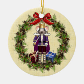 Mouse King Wreath Round Christmas Ornament