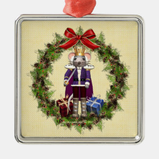 Mouse King Wreath Square Silver Ornament