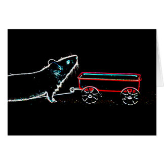 mouse lifting up by wagon outline cute animal greeting card