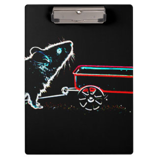 mouse lifting up by wagon outline cute animal clipboard