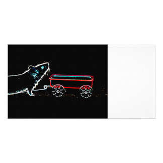 mouse lifting up by wagon outline cute animal photo card