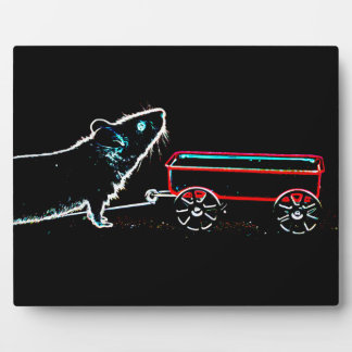 mouse lifting up by wagon outline cute animal plaque