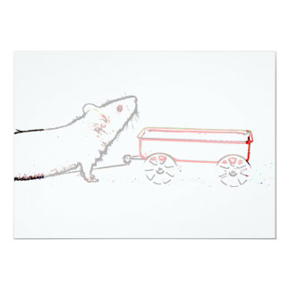 """mouse lifting up outline with wagon 5"""" x 7"""" invitation card"""