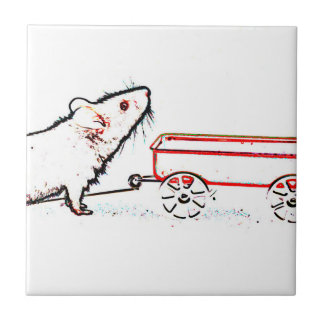 mouse lifting up outline with wagon small square tile