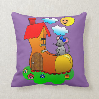 Mouse Living in a Shoe / Boot Throw Pillow