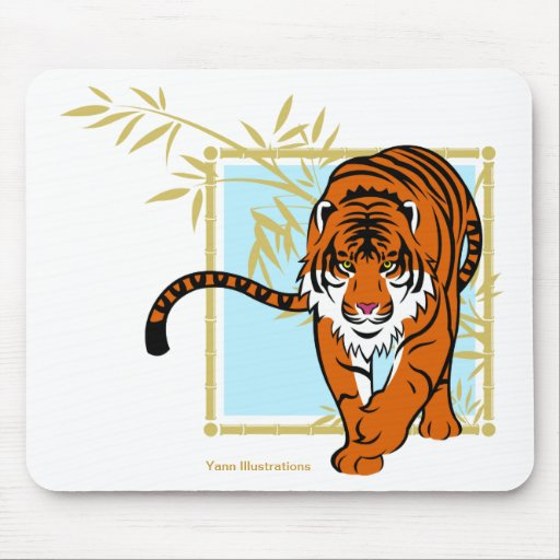 """Mouse mat """"Tiger and bamboo """" Mouse Pads"""