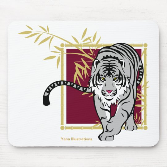 "Mouse mat ""white Tiger and bamboo """