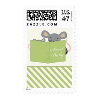 Mouse Mommy and Baby Postage Stamp