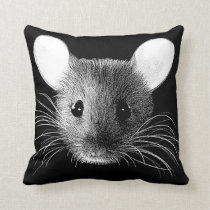 Mouse Monochrome Pop Art Throw Cushion