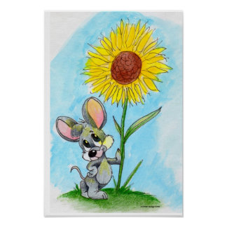 Mouse 'n' flower poster