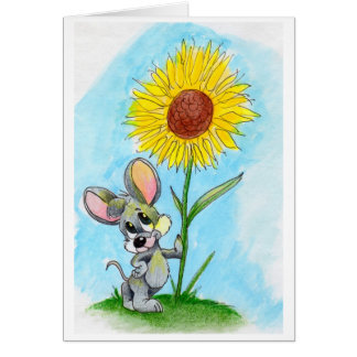 Mouse 'n' flower stationery note card