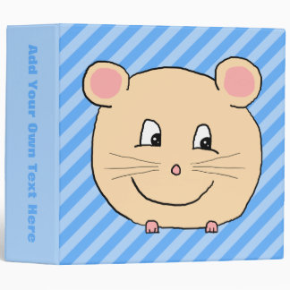 Mouse on Blue Stripes. 3 Ring Binder