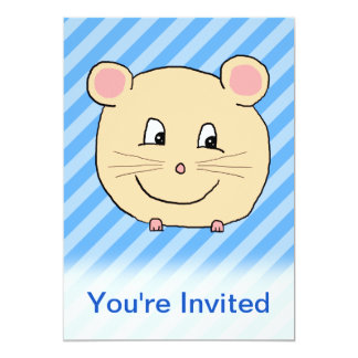 Mouse on Blue Stripes. 5x7 Paper Invitation Card