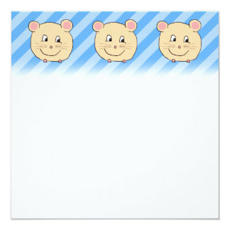 Mouse on Blue Stripes. 5.25x5.25 Square Paper Invitation Card