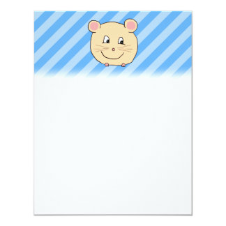 Mouse on Blue Stripes. 4.25x5.5 Paper Invitation Card