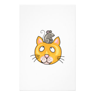 Mouse on cats Head Custom Stationery