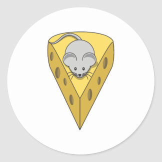 Mouse on cheese classic round sticker