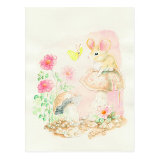 Mouse On Mushroom Art Potcards, Greeting Cards