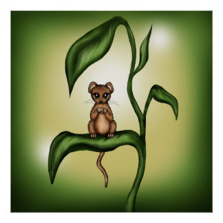 mouse on plant poster