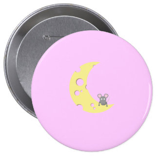 mouse on the cheese moon pinback button