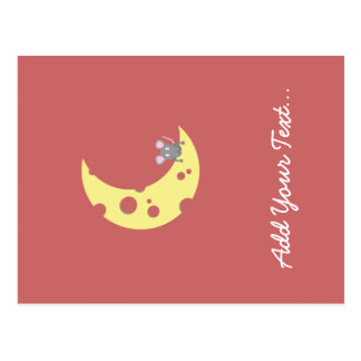 mouse on the cheese moon postcard