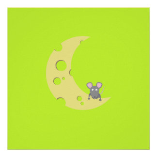 mouse on the cheese moon poster