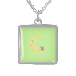 mouse on the cheese moon square pendant necklace