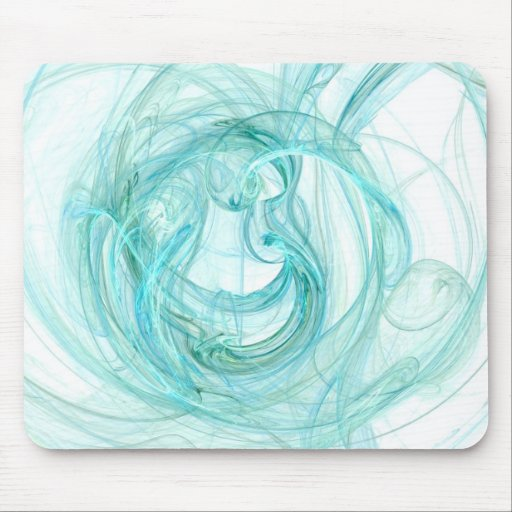 Mouse Pad: Aqua Unique Abstract Fractal Art!