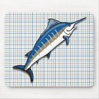 Mouse Pad - Blue Marlin on Plaid