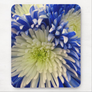 Mouse Pad - Blue & White Spider Mums