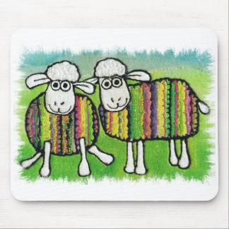 mouse pad. cute sheep in coats mouse pad