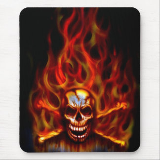 Mouse Pad - Flaming Skull