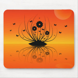 Mouse Pad  -  Flower Island Silhouette