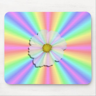Mouse Pad - Groovy Radiant Rainbow W Flower Power
