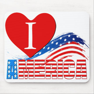 """Mouse Pad - I (Heart) """"AMERICA"""" in Stars Stripes"""