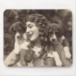 Mouse Pad, Mary Pickford with Beagle Puppies Mouse Pad