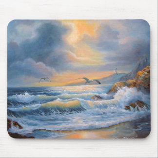 Mouse Pad Ocean at Evening Glow