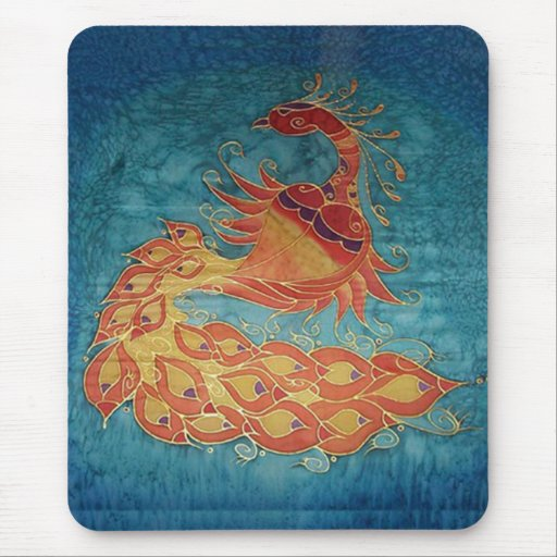 Mouse Pad: Peacock Silk Painting