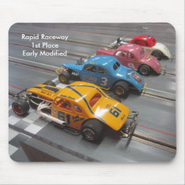 Mouse pad picturing the early modified slot cars