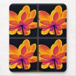 Mouse Pad - Pop art Lily-Orange Quad