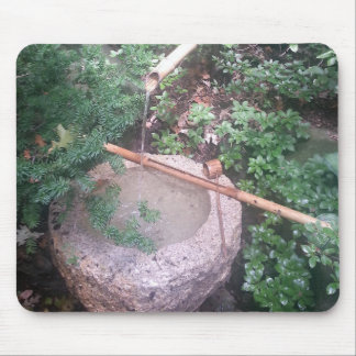 Mouse Pad Stone Bamboo Fountain Japanese Gardens