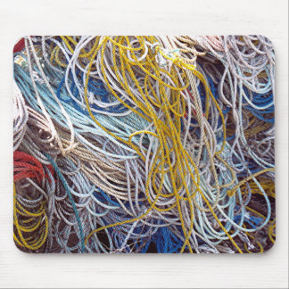 MOUSE PAD,  TANGLE OF MULTI COLORED ROPES PHOTO MOUSE PAD
