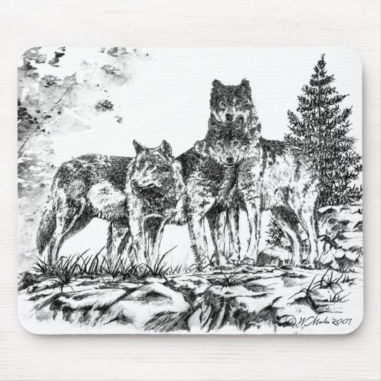 Mouse Pad - Three Wolfs Illustration