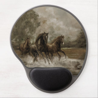 Mouse Pad Wild Horses Runnig from a Storm Gel Mouse Pad
