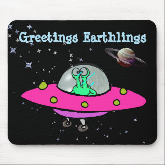 Mouse Pad with Alien Spaceship
