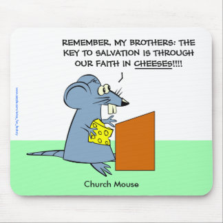 """Mouse Pad with """"Church Mouse"""" cartoon"""
