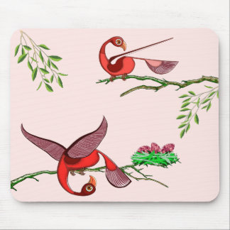 Mouse pad with colorful red birds by tigudesign